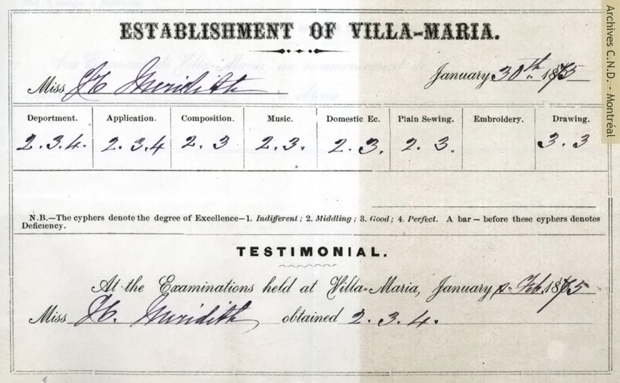 Exam results for Miss Meredith, student at Villa Maria boarding school