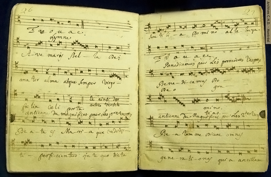 Pages taken from a manuscript collection of hymns and noted motets