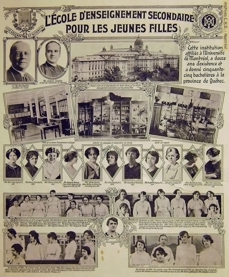 Commemorative photographs of the students of École d'enseignement secondaire pour jeunes filles