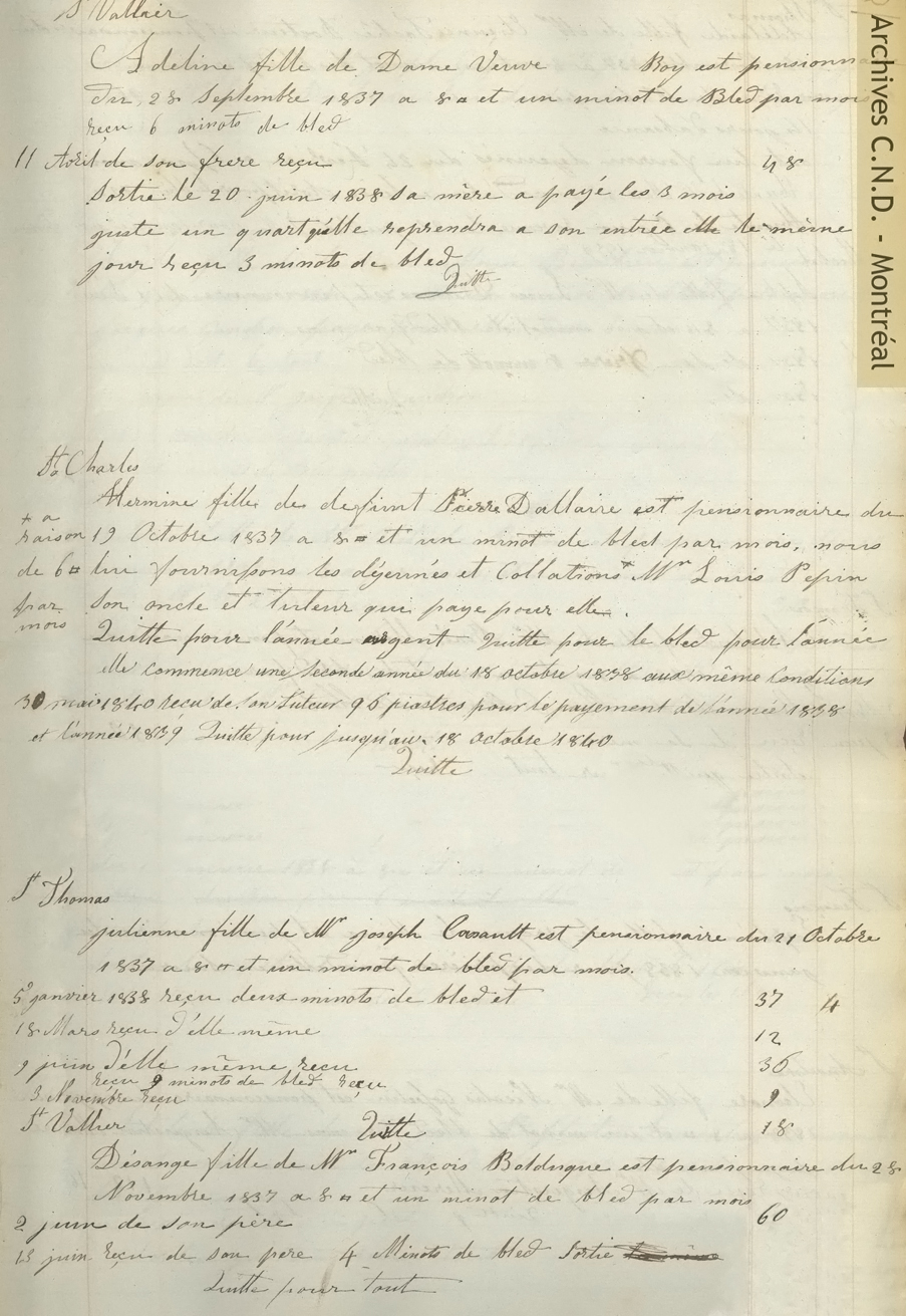 Pages taken from the record of accounts of the boarders