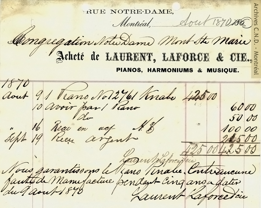 Bill from the store Laurent, Laforce et cie for a piano destined for Mont Sainte-Marie