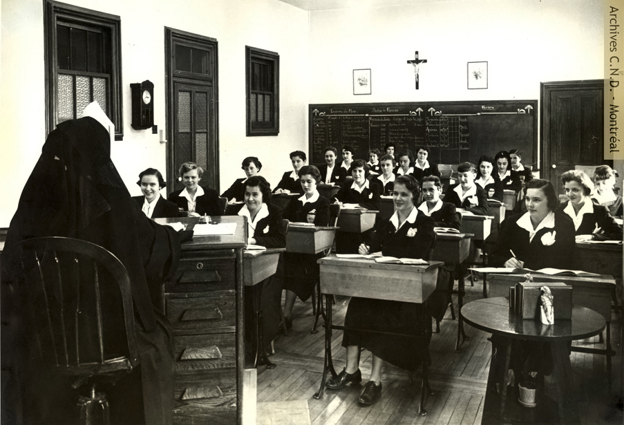 Students in the French class at Villa Maria boarding school