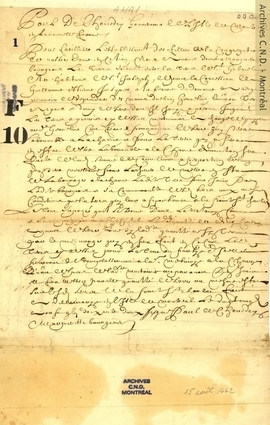 Notarized copy of the contract of purchase for a plot of land on the Saint-Gabriel prairie signed on August 25, 1662 by Paul de Chomedey de Maisonneuve and Marguerite Bourgeoys