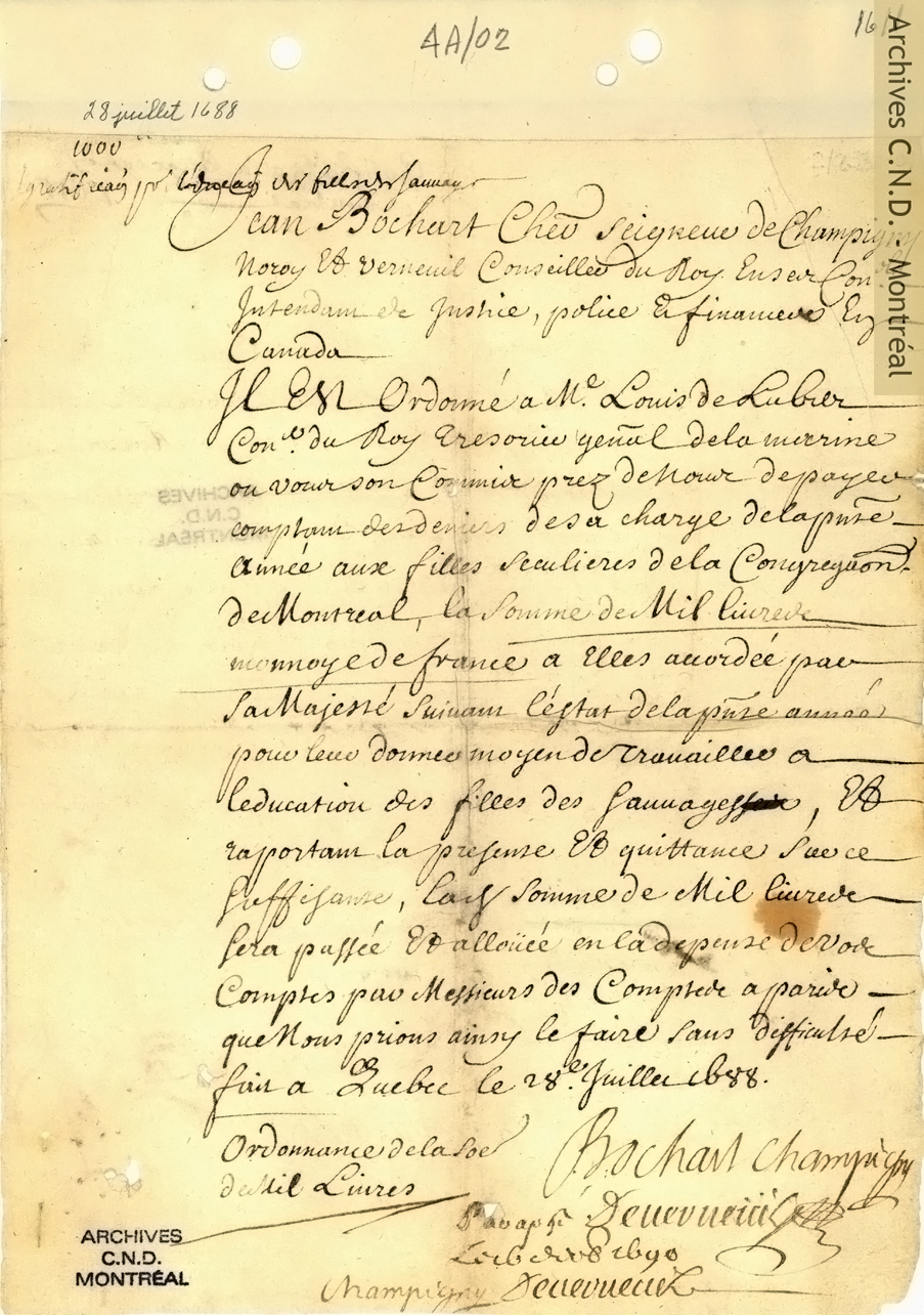 Authorization for a one thousand pound gratuity for the Sisters of the Congrégation de Notre-Dame for the education of young Amerindian girls
