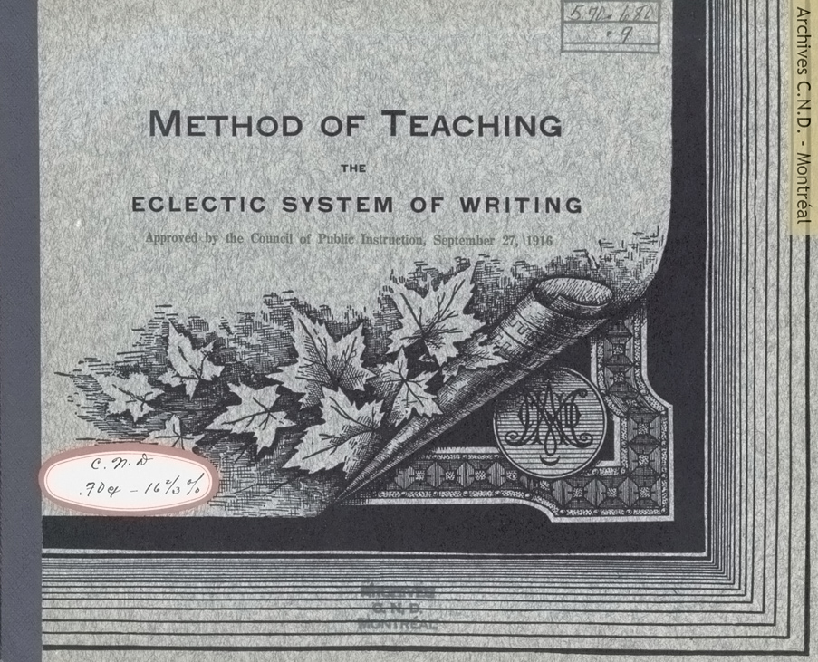 Cover page - Method of Teaching the Eclectic System of Writing (書き方の教授法)