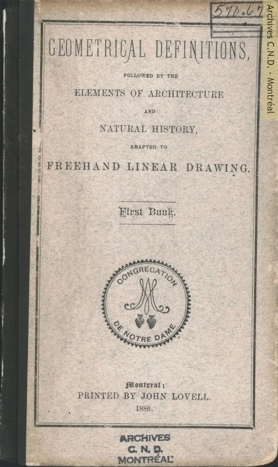 Page couverture - Geometrical definitions, followed by the elements of architecture and natural history, adapted to Freehand Linear Drawing - First book