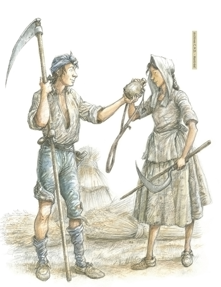 Boy with scythe and girl with sickle