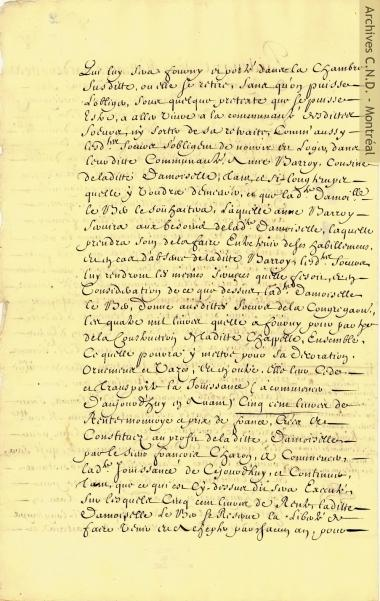 Agreement between Jeanne Le Ber and the Sisters of the Congrégation to build a chapel with an apartment where she could live her life as a recluse